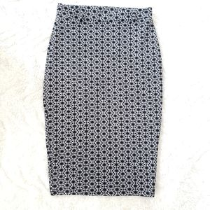 🎀Agaci Black & White Spotted Belted Pencil Skirt